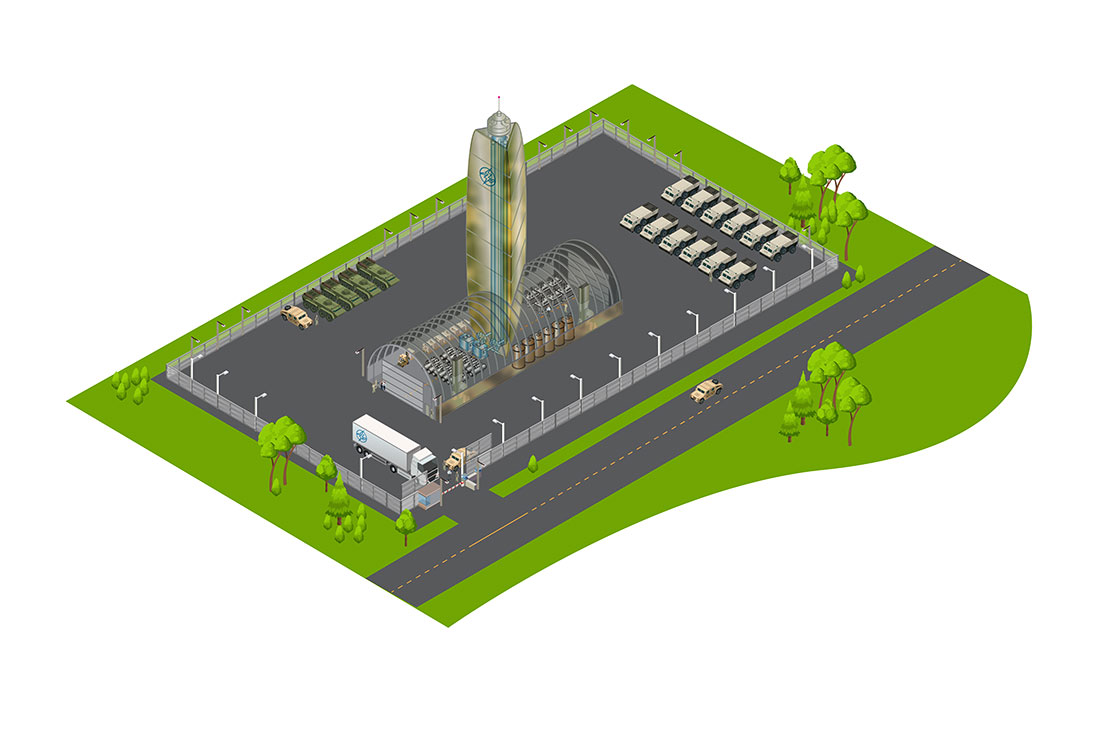 Flooid-Powered Military Base